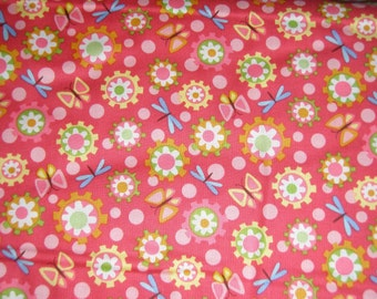 """Pink floral cotton fabric Pink Lily Pond fabric by Wendy Slotboom """" In the Beginning Fabric"""" fat quarter, 1/2 yard or by the yard"""