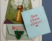 Antique Craftsman Style German Language Postcard w/ Psalm Verse in Envelope-Embossed-Blessings- Carnations