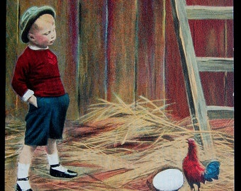 You're a Liar - Little Boy in the Farmyard - Humorous 1910 Antique Postcard - Being a Chanticleer is a Thankless Job