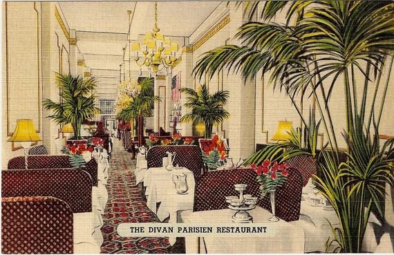 The Divan Parisien Restaurant New York City Advertisment Postcard