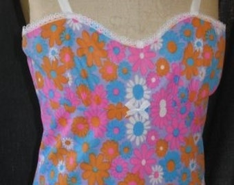 Vintage 1960s Full Slip Negligee Funky Floral Print Small Womens Size X Sml