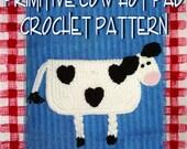 Primitive Cow Hot Pad Crochet Pattern PDF - INSTANT DOWNLOAD.