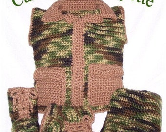Camouflage Hunting Vest Layette Booties and Hat Crochet Pattern PDF - INSTANT DOWNLOAD.