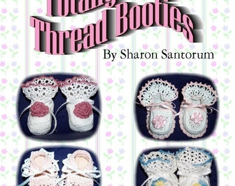 Totally Frilly Thread Booties Crochet Pattern PDF - INSTANT DOWNLOAD.