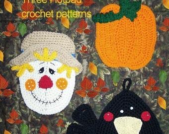 Three Decorative Fall Potholders - It's Fall Ya'll - Crochet Pattern PDF - INSTANT DOWNLOAD.
