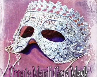 Ornate Mardi Gras Mask Crochet Pattern PDF - INSTANT DOWNLOAD.