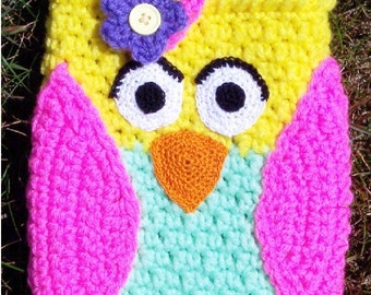 Bree's Colorful Owl eReader Sleeve Crochet Pattern PDF - INSTANT DOWNLOAD.