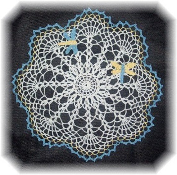 Dragonfly Doily Crochet Pattern PDF - INSTANT DOWNLOAD.