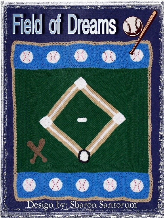 Field of Dreams Baseball Baby Afghan or Blanket Crochet