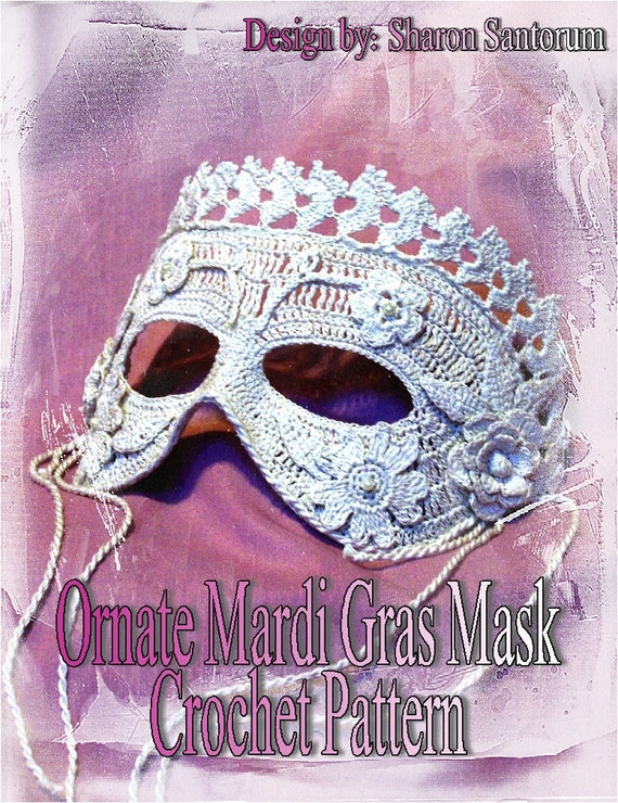 Ornate Mardi Gras Mask Crochet Pattern PDF - INSTANT DOWNLOAD.