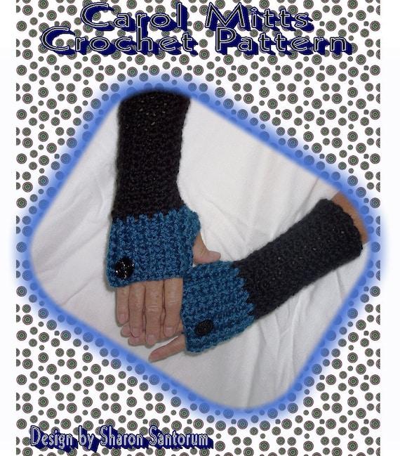Carol Mitts Fingerless Mitten Crochet Pattern PDF - INSTANT DOWNLOAD.