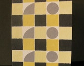 Geometric Yellow, Black and Grey Hand-Painted Card