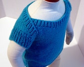 Baby Sweater, Hand Knit Light Weight Blue Baby Shirt, Size 0 to 3 Months READY TO SHIP
