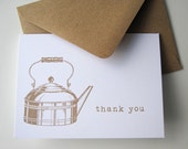 Thank You Notes with Retro Tea Kettle (12 cards)