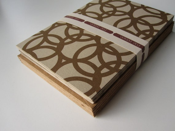 Notecard Stationery Set with brown circles graphic pattern (12 cards)