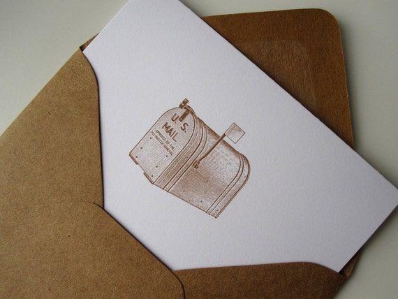 Notecard Set Stationery w/ retro mailbox (12 cards)