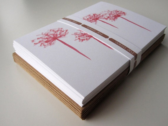 Notecard Set Stationery with RedTrees watercolor (12 cards)