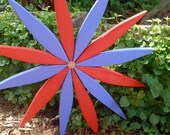 Wooden Starburst Wreath - (brightly colored Red & Blue)