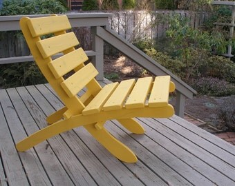 Cheerful Yellow Cedar Chair for Home, Patio, Deck, Cabin, Garden, Beach - Storable! - outdoor furniture handcrafted by Laughing Creek