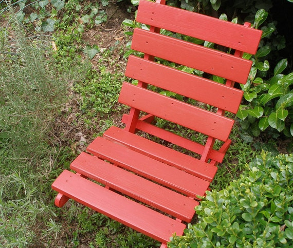 Brightly Colored Rustic Red Cedar Chair for Home - Garden - Cabin - Beach - Patio - Deck - outdoor furniture handcrafted by Laughing Creek
