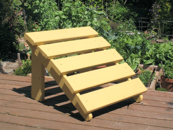Colorful Wooden Ottoman for Patio & Garden Chair (Tuscan Yellow)
