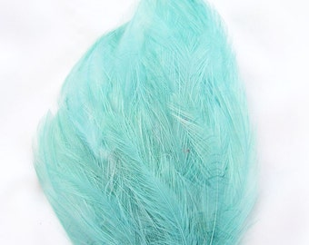 SEAFOAM Feather Pad (rooster feather) Applique for millinery,mardi gras masks,costume hats,flapper feather fascinator,children headband