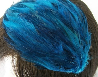 SAPPHIRE BLUE Feather Pad (rooster feather) Applique for millinery,mardi gras masks,costume hat,flapper feather fascinator,children headband