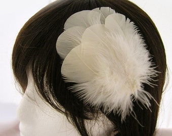 IVORY Wedding Turkey Feather Applique. DIY craft item for millinery, masks, costumes, headdresses, headbands and hair clips (1 Appliqué)