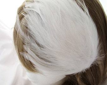 WHITE Feather Pad (rooster feather) Applique for millinery,mardi gras masks,costume hats,flapper feather fascinator,children headband