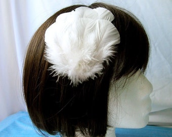 WHITE Wedding Turkey Feather Applique. DIY craft item for millinery, masks, costumes, headdresses, headbands and hair clips (1 Appliqué)