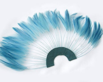 POWDER BLUE Half Circle Feather Applique. DIY craft item for millinery, masks, costumes, headdresses, headbands and hair clips (1 Appliqué)