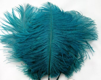 TEAL BLUE Ostrich Feather Drab (6-8 inches, 3 package option) feather for hat,fascinator,hat,corset,dresses,bouquets, costume,fans