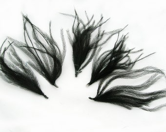 BLACK Ostrich Feather (5 Sprays) Cruelty free DIY feathers for hair fascinators, boutonnieres, millinery,shoe clip,ostrich drab