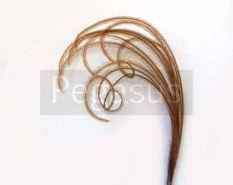 MOCHA BROWN Mini cruelty free peacock feather plume (12 Plumes,16 color options) boutonnieres,earrings,fascinators, wedding invitations