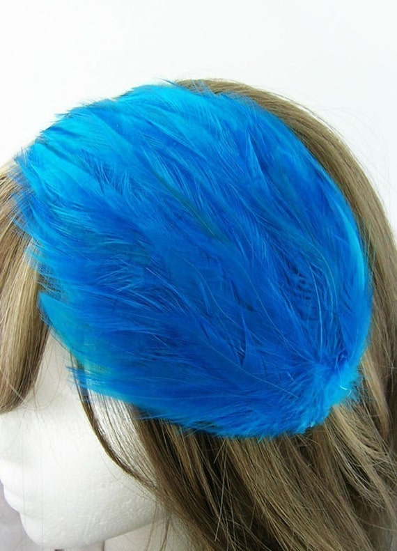 Azure BLUE Feather Pad (rooster feather) Applique for millinery,mardi gras masks,costume hats,flapper feather fascinator,children headband