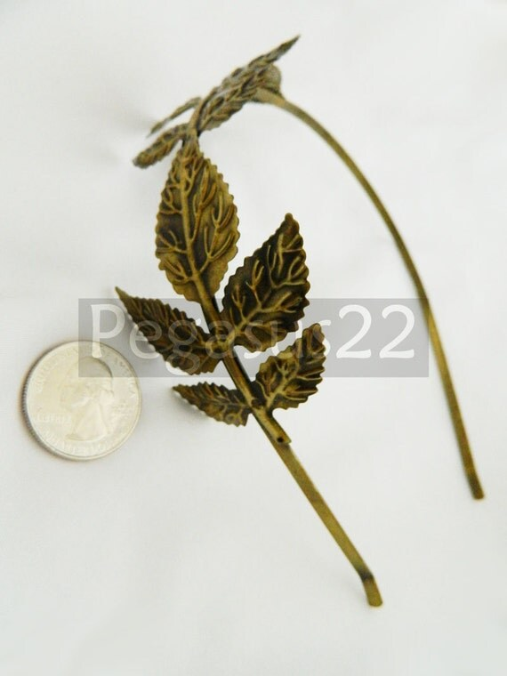 BRONZE Filigree leaf metal Alice headband (1 Hairband)  Hair fascinator supply for feathers, cabochons, cameo bases and elven veils