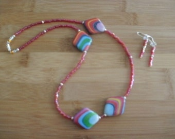 Italian Glass Bead Necklace and Earrings