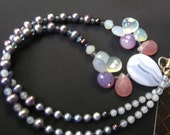 Fresh water pearl necklace with blue lace agate and chalcedony iolite