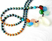 UPDATED for SANDRA Pearl necklace with Turquoise Lemon quartz Chalcedony and Turquoise