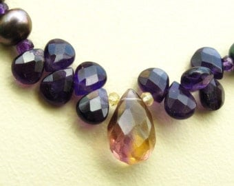 Amethyst and Pearl Necklace Amethyst Necklace Fresh water pearl necklace Purple Carnelian Long  VIOLETTE