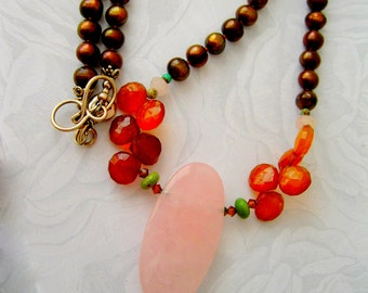 Pearl necklace Rose Quartz Rootbeer Pearls and Chalcedony with Turquoise ROOTBEER FLOAT Sterling Handmade Jewelry