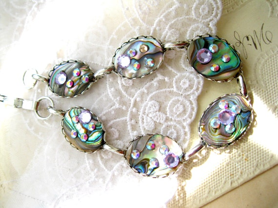 Abalone shell silver bracelet Swarovski crystals handmade bracelet GALAXY QUEST blue green mother of pearl