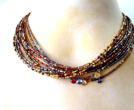 Cobalt blue and carnelian GLOWING SUNSET handmade necklace -Japanese seed bead necklace and cobalt and golden with  CZ, multistrand