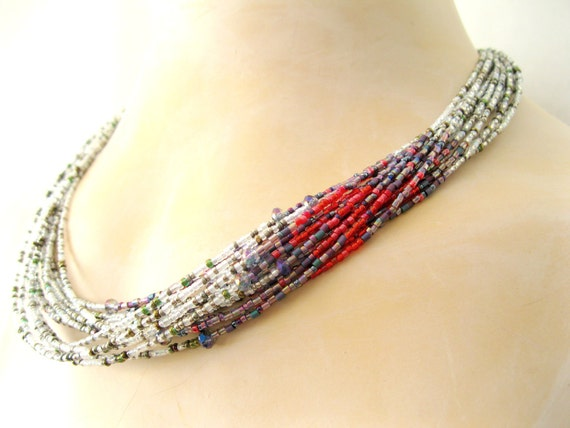 White and Crimson Red ECLIPSE of THE HEART necklace multistrand red Japanese seed bead handmade necklace free ship