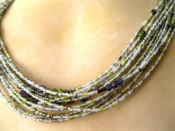RESERVED for Krista Iolite Blue White & Green Necklace w/ sparkling CZ  multistrand green blue Handmade Necklace Artisan 18 in,