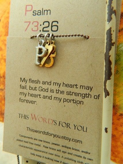 Psalm 73 26 Christian Necklace My Flesh And My Heart May Fail