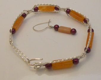 Carnelian and Burgandy Bracelet and Earrings  Sterling Silver
