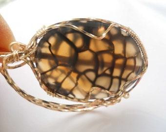 Turtle Tummy Pendant in Gold Filled Wire