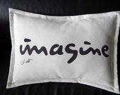"""Outdoor pillow IMAGINE lumbar 14""""x19""""painted message dreamer peace John Lennon song handwritten Beatles Crabby Chris Original"""