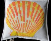 "Outdoor pillow SCALLOP ORANGE 20"" painted tropical coral yellow shell shelling beachcombing seashore nautical ocean Crabby Chris Original"